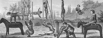 Children's outdoor gymnasium, circa 19th Century. The equipment, which was standard for the time, includes ladders, gymnastic horses, and parallel bars.