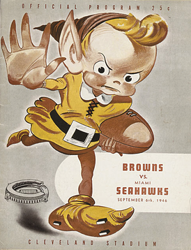 Game program depicting the Brownie elf, the team's primary mascot in its successful early years. From the Browns' first game on September 6, 1946 against the Miami Seahawks.