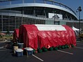 "A ""decontamination tent"" was maintained by security in front of INVESCO field, where Obama spoke on the last day of the 2008 Democratic National Convention"