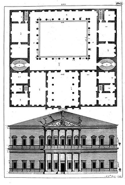 Drawing of Andrea Palladio, Project for Francesco et Lodovico de Trissini, from the book I quattro libri dell'architettura, 1570
