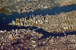 The Port of New York and New Jersey grew from the original harbor at the convergence of the Hudson River and the East River at the Upper New York Bay.