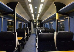 The refurbished First Class interior aboard a Mark 3 Trailer First HST carriage