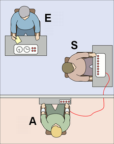 The experimenter (E) orders the teacher (S), the subject of the experiment, to give what the latter believes are painful electric shocks to a learner (A), who is actually an actor and confederate. The subject believes that for each wrong answer, the learner was receiving actual electric shocks, though in reality there were no such punishments. Being separated from the subject, the confederate set up a tape recorder integrated with the electro-shock generator, which played pre-recorded sounds for each shock level.