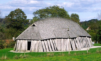 A reconstructed Viking Age mead hall (28.5 metres long).