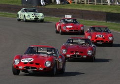Four 250 GTOs and one 330 GTO (second to last car) at the 2012 Goodwood Revival