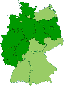 Current states of Germany (shown in dark green) that are completely or mostly situated inside the old borders of Imperial Germany's Kingdom of Prussia.
