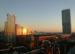 The Beetham Tower, Manchester (right), the tallest building in the UK outside London, the Great Northern Tower (left) and the Great Northern Warehouse (centre)