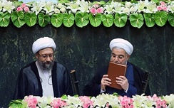 Hassan Rouhani takes the oath of office as the President of Iran.