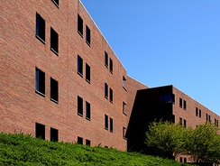 Recessed windows of the monolithic Hereford College