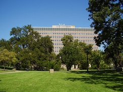 The Sam Houston State Office Building includes the offices of the Texas Ethics Commission