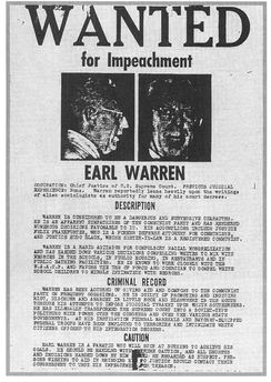 "An ""Impeach Earl Warren sign"", posted in San Francisco in October 1958"