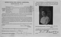 Kate T. Zeis, photo for US Civil Service Commission card – NARA – 285491