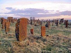 Noratus cemetery, a medieval Armenian cemetery with a large number of early khachkars. The cemetery has the largest cluster of khachkars in the country.