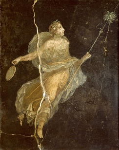 A maenad wearing a silk gown, a Roman fresco from the Casa del Naviglio in Pompeii, 1st century AD