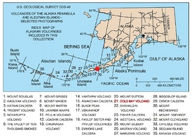 Map showing volcanoes of Alaska. The mark is set at the location of Cold Bay Volcano.