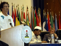 Muammar Gaddafi at the first Africa-Latin America summit in 2006 in Abuja, Nigeria