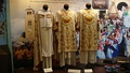 Capa pluvial (cope) and ornately embroidered dalmatic pairs (late 1800s, early 1900s, Our Lady of Manaoag museum, Philippines)