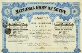 Share warrant of the National Bank of Egypt, issued 17. April 1899