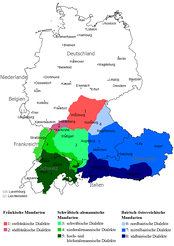 Upper German, southern counterpart to Central German, both forming the High German Languages. Blue are the Austro-Bavarian dialects