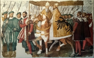 Pope Clement VII and Emperor Charles V on horseback under a canopy, by Jacopo Ligozzi, c. 1580. It describes the entry of the Pope and the Emperor into Bologna in 1530, when the latter was crowned as Holy Roman Emperor by the former.