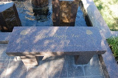 The Peggy Lee bench-style burial monument