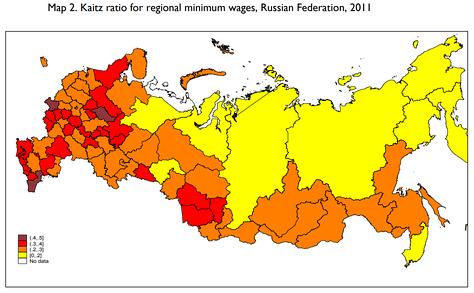 Индекс Кейтца (отношение МРОТ к средней зарплате) по регионам России в 2011 году[3]