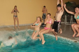 Young adults at a pool party