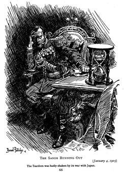 Punch cartoon, 1905; A cartoon in the British press of the times illustrating the Russian Empire's loss of prestige after the nation's defeat. The hour-glass represents Russia's prestige running out.