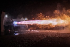 First test firing of a scale Raptor development engine in September 2016 in McGregor, Texas.