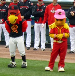 Spikes and Mittsy, mascots of the Rochester Red Wings