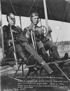 Roy Kirtland (at right), flying a Wright 1911 Model B Flyer