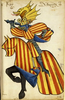 Equestrian heraldic of king Alfonso V of Aragon in the Equestrian armorial of the Golden Fleece 1433–1435. Collection Bibliothèque de l'Arsenal.