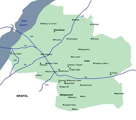 Map of South Gloucestershire; the blue lines are motorways.