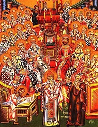 Eastern Orthodox icon depicting the First Council of Nicaea