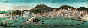 Naples in the fifteenth century. La Tavola Strozzi probably represents the triumphal entry of the fleet of Ferdinand I after the Battle of Ischia in 1465