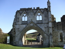 Kirkham Priory gatehouse ruins. The armorials of various benefactors are visible sculpted on stone escutcheons