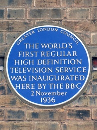 Blue plaque at Alexandra Palace, commemorating the launch of the world's first high-definition television service, BBC Television, in 1936
