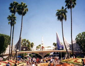 Disneyland's Tomorrowland entrance in 1996, before the 1998 makeover