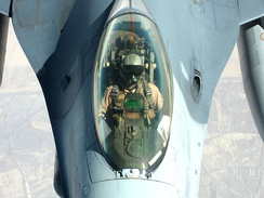 A U.S. Air Force F-16 pilot in flight