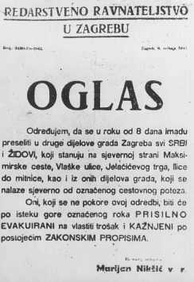 Order for Serbs and Jews to move out of their homes in specified parts of Zagreb to other parts of the city, Croatia and a warning of forcible expulsion and punishment of those that failed to comply.