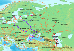 Map of the historical trade route (shown in purple) connecting Uppsala with Constantinople via Cherson. The major centers of Kievan Rus' – Kiev itself, Novgorod and Ladoga – arose along this route.
