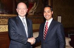 Secretary of State for Foreign and Commonwealth Affairs William Hague meeting Castro in London in 2012