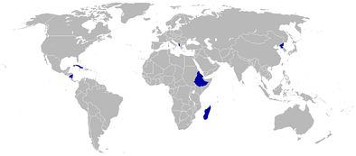 Countries boycotting or absent from the 1988 Games are shaded blue