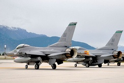 F-16C Block 40K (90-0772) and Block 40J (90-0775) of the 555th Fighter Squadron