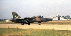 428th Tactical Fighter Squadron General Dynamics F-111A 67-0075 carrying practice bombs taxiing at Korat RTAFB, Thailand, September 1974