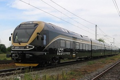 Stadler FLIRT of Czech private rail operator Leo Express on the test circuit in Cerhenice, the Czech Republic