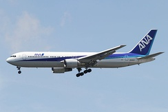 An All Nippon Airways 767-300 departing Narita International Airport