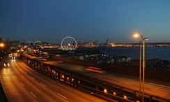 Alaskan Way Viaduct, port of Seattle on the right, stadium in the background