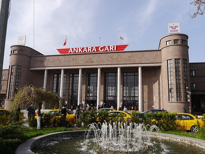 Ankara railway station in Ankara, Turkey (1937)