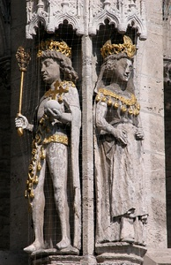 Statues of Otto IV & Maria of Brabant, old city hall, Braunschweig, c. 1455.
